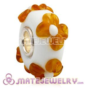 European milk beads with orange flower murano glass beads