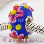 European blueberry beads with pink flower murano glass beads