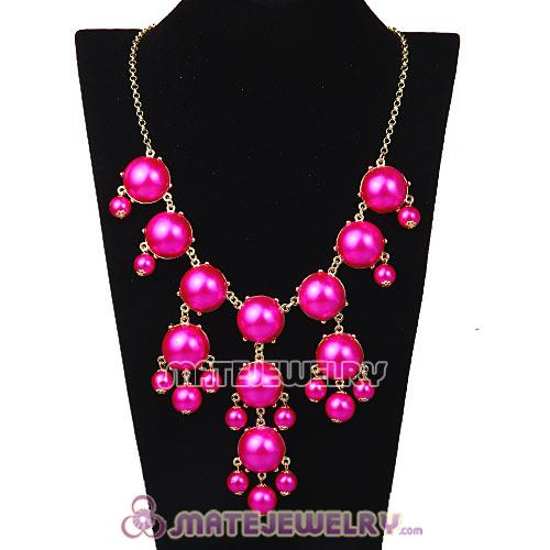 New Fashion Dark Fuchsia Pearl Bubble Bib Necklace Wholesale