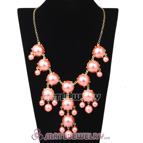 New Fashion Pink Pearl Bubble Bib Necklace Wholesale