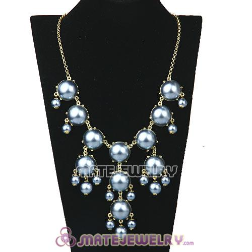 New Fashion Grey Pearl Bubble Bib Necklace Wholesale