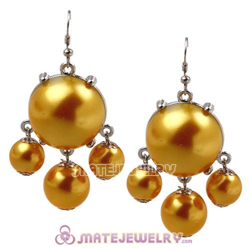 Fashion Silver Plated Golden Pearl Bubble Earrings Wholesale