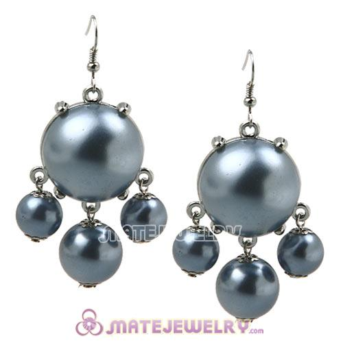 Fashion Silver Plated Grey Pearl Bubble Earrings Wholesale