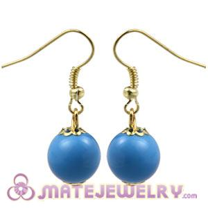 Fashion Gold Plated Dark Sky Blue Hoop Plastic Bubble Earrings Wholesale