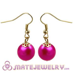 Fashion Gold Plated Dark Fuchsia Pearl Bubble Earrings Wholesale