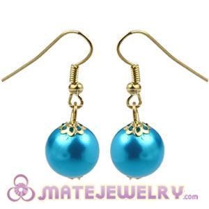 Fashion Gold Plated Special Blue Pearl Bubble Earrings Wholesale
