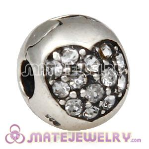 925 Sterling Silver Love Of My Life Clip Beads With Clear Austrian Crystal