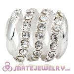 925 Sterling Silver Modern Glam Charm Beads With Clear Austrian Crystal