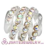 925 Sterling Silver Modern Glam Charm Beads With Crystal AB Austrian Crystal
