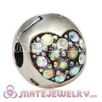 925 Sterling Silver Love Of My Life Clip Beads With Crystal AB Austrian Crystal