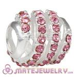 925 Sterling Silver Modern Glam Charm Beads With Light Rose Austrian Crystal