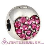 925 Sterling Silver Love Of My Life Clip Beads With Rose Austrian Crystal