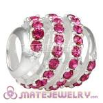 925 Sterling Silver Modern Glam Charm Beads With Rose Austrian Crystal