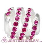 925 Sterling Silver Modern Glam Charm Beads With Fuchsia Austrian Crystal