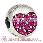 925 Sterling Silver Love Of My Life Clip Beads With Fuchsia Austrian Crystal