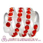925 Sterling Silver Modern Glam Charm Beads With Hyacinth Austrian Crystal