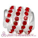 925 Sterling Silver Modern Glam Charm Beads With Light Siam Austrian Crystal