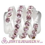 925 Sterling Silver Modern Glam Charm Beads With Light Amethyst Austrian Crystal