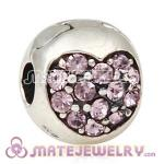 925 Sterling Silver Love Of My Life Clip Beads With Light Amethyst Austrian Crystal