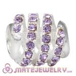 925 Sterling Silver Modern Glam Charm Beads With Violet Austrian Crystal