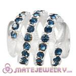 925 Sterling Silver Modern Glam Charm Beads With Montana Austrian Crystal