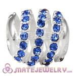 925 Sterling Silver Modern Glam Charm Beads With Sapphire Austrian Crystal