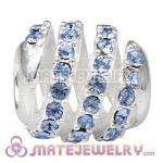 925 Sterling Silver Modern Glam Charm Beads With Light Sapphire Austrian Crystal