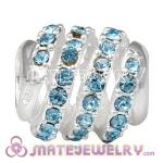925 Sterling Silver Modern Glam Charm Beads With Aquamarine Austrian Crystal
