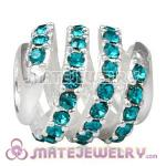 925 Sterling Silver Modern Glam Charm Beads With Blue Zircon Austrian Crystal