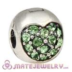 925 Sterling Silver Love Of My Life Clip Beads With Peridot Austrian Crystal