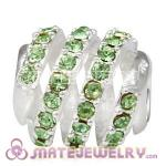 925 Sterling Silver Modern Glam Charm Beads With Peridot Austrian Crystal