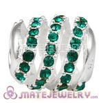 925 Sterling Silver Modern Glam Charm Beads With Emerald Austrian Crystal