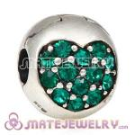 925 Sterling Silver Love Of My Life Clip Beads With Emerald Austrian Crystal
