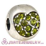 925 Sterling Silver Love Of My Life Clip Beads With Olivine Austrian Crystal