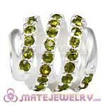 925 Sterling Silver Modern Glam Charm Beads With Olivine Austrian Crystal