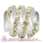 925 Sterling Silver Modern Glam Charm Beads With Jonquil Austrian Crystal
