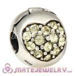 925 Sterling Silver Love Of My Life Clip Beads With Jonquil Austrian Crystal