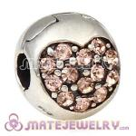 925 Sterling Silver Love Of My Life Clip Beads With Light Peach Austrian Crystal