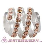 925 Sterling Silver Modern Glam Charm Beads With Light Peach Austrian Crystal