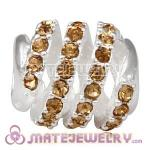 925 Sterling Silver Modern Glam Charm Beads With Light Colorado Topaz Austrian Crystal