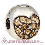 925 Sterling Silver Love Of My Life Clip Beads With Light Colorado Topaz Austrian Crystal
