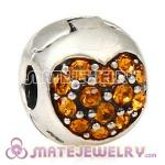 925 Sterling Silver Love Of My Life Clip Beads With Topaz Austrian Crystal