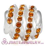 925 Sterling Silver Modern Glam Charm Beads With Topaz Austrian Crystal