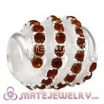 925 Sterling Silver Modern Glam Charm Beads With Smoked Topaz Austrian Crystal