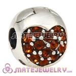 925 Sterling Silver Love Of My Life Clip Beads With Smoked Topaz Austrian Crystal