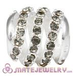 925 Sterling Silver Modern Glam Charm Beads With Black Diamond Austrian Crystal