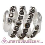 925 Sterling Silver Modern Glam Charm Beads With Jet Austrian Crystal