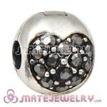 925 Sterling Silver Love Of My Life Clip Beads With Jet Austrian Crystal