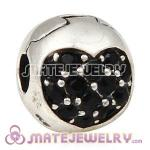 925 Sterling Silver Love Of My Life Clip Beads With Jet Hematite Austrian Crystal