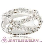 925 Sterling Silver Glistening Meander Charm Beads With Clear Austrian Crystal
